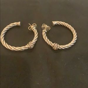 David Yurman cable hoop earrings with diamonds